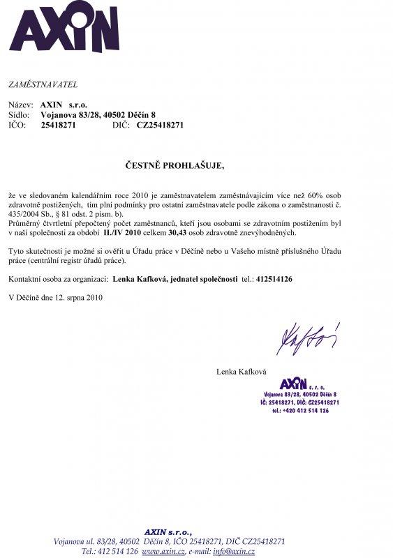 čestné prohlášení II./IV 2010