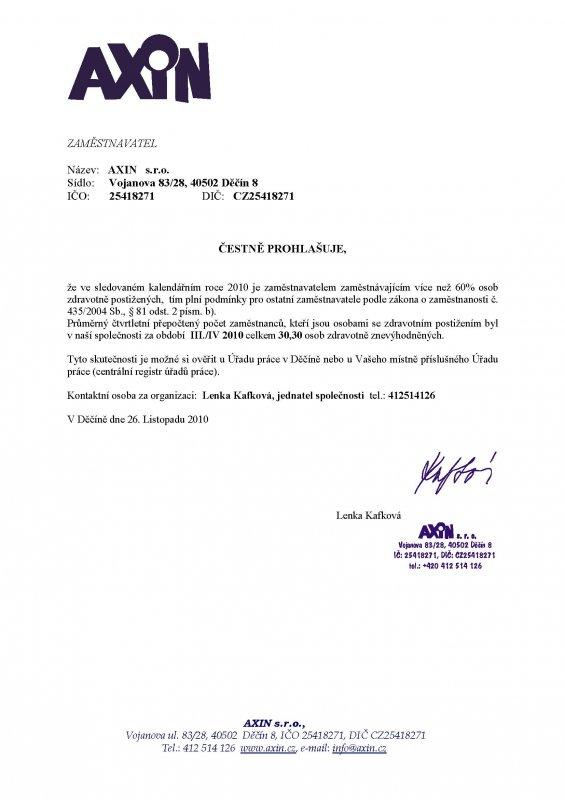 čestné prohlášení za III./IV 2010