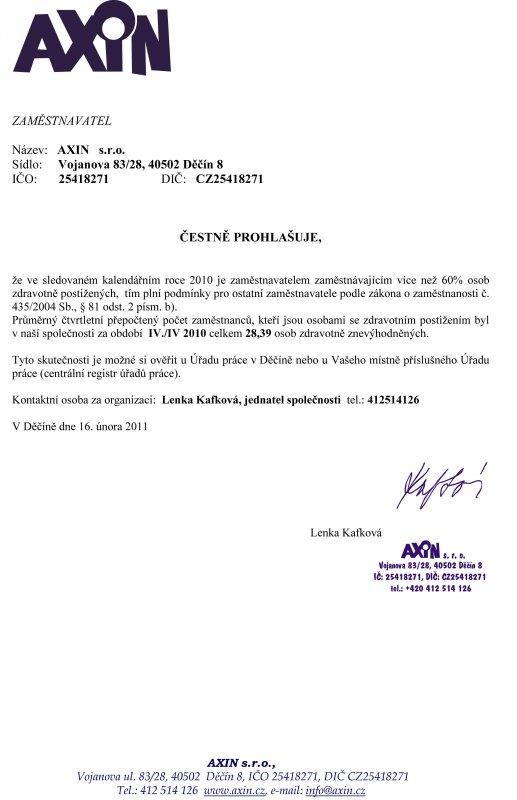 čestné prohlášení za IV./IV 2010