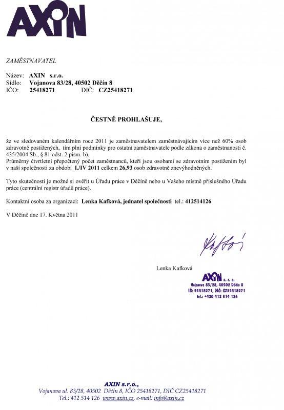 čestné prohlášení I./IV. 2011