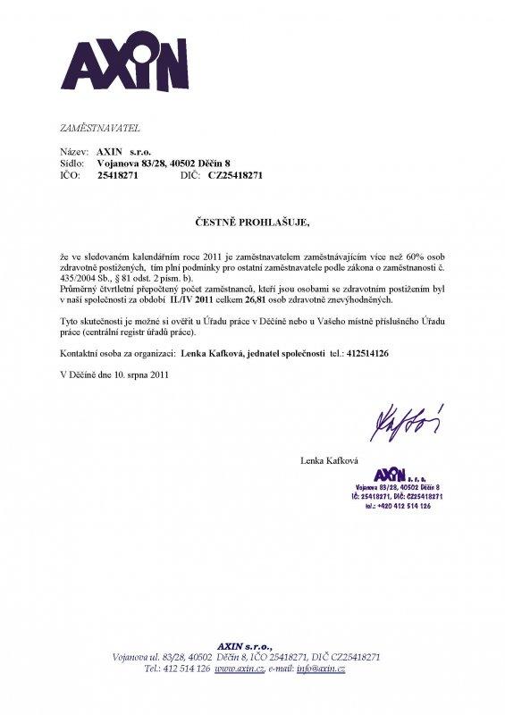 čestné prohlášení II./IV. 2011